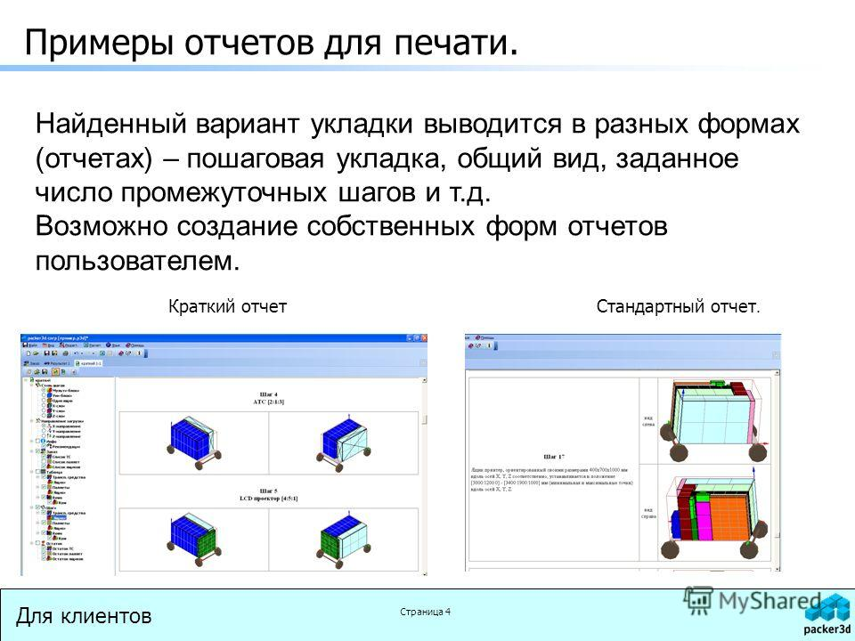 Для клиентов Страница 4 Примеры отчетов для печати. Краткий отчетСтандартный отчет. Найденный вариант укладки выводится в разных формах (отчетах) – пошаговая укладка, общий вид, заданное число промежуточных шагов и т.д. Возможно создание собственных