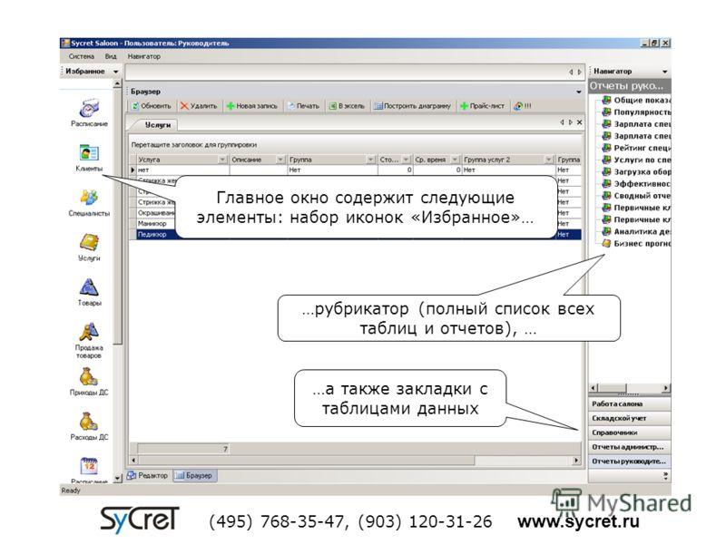 Главное окно содержит следующие элементы: набор иконок «Избранное»… …рубрикатор (полный список всех таблиц и отчетов), … …а также закладки с таблицами данных (495) 768-35-47, (903) 120-31-26 www.sycret.ru