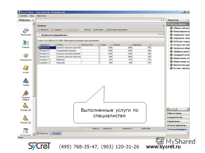 Выполненные услуги по специалистам (495) 768-35-47, (903) 120-31-26 www.sycret.ru
