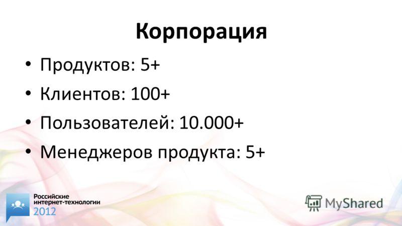 Корпорация Продуктов: 5+ Клиентов: 100+ Пользователей: 10.000+ Менеджеров продукта: 5+