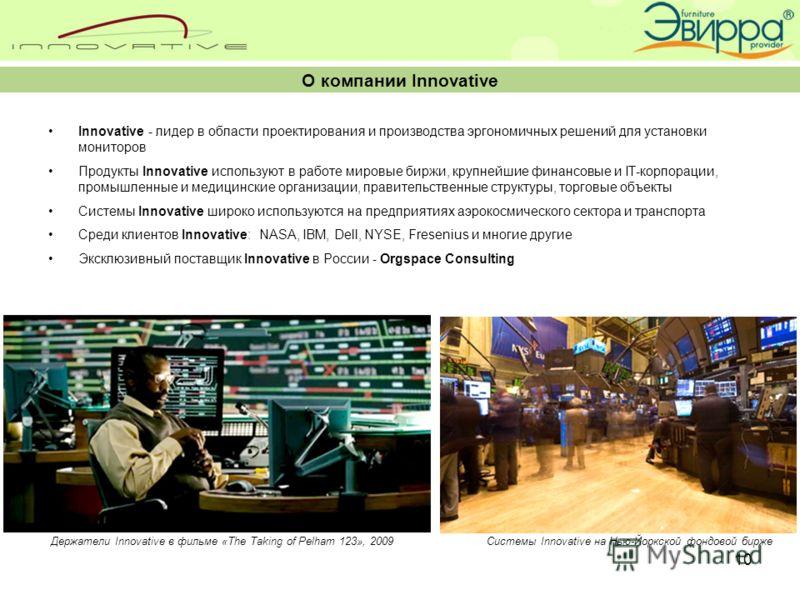 10 Innovative - лидер в области проектирования и производства эргономичных решений для установки мониторов Продукты Innovative используют в работе мировые биржи, крупнейшие финансовые и IT-корпорации, промышленные и медицинские организации, правитель