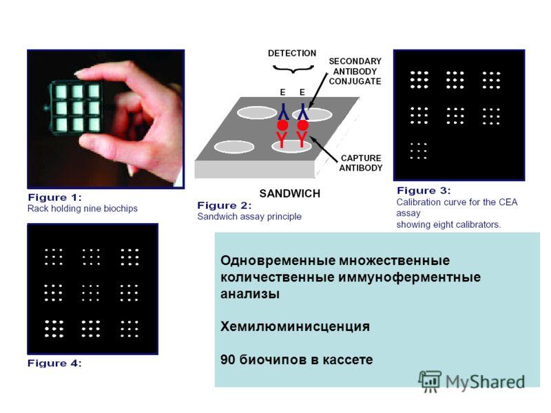 Одновременные множественные количественные иммуноферментные анализы Хемилюминисценция 90 биочипов в кассете