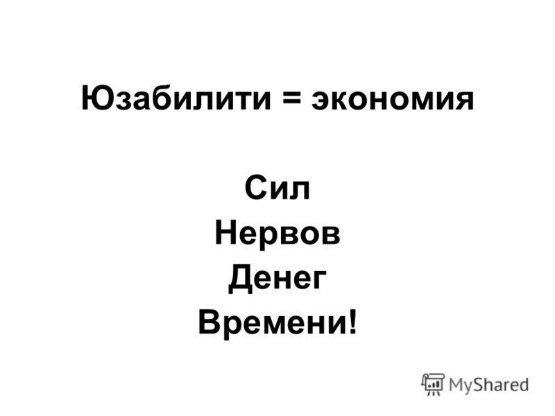 Юзабилити = экономия Сил Нервов Денег Времени!