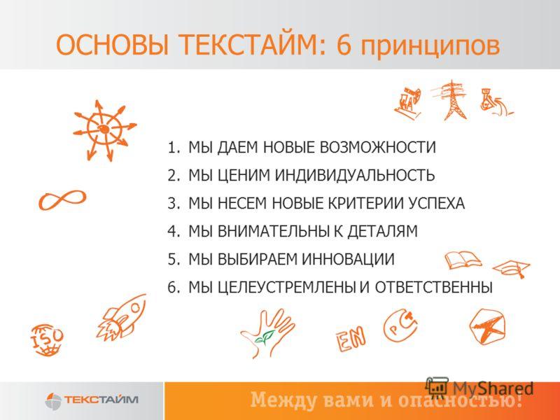 ОСНОВЫ ТЕКСТАЙМ: 6 принципов 1.МЫ ДАЕМ НОВЫЕ ВОЗМОЖНОСТИ 2.МЫ ЦЕНИМ ИНДИВИДУАЛЬНОСТЬ 3.МЫ НЕСЕМ НОВЫЕ КРИТЕРИИ УСПЕХА 4.МЫ ВНИМАТЕЛЬНЫ К ДЕТАЛЯМ 5.МЫ ВЫБИРАЕМ ИННОВАЦИИ 6.МЫ ЦЕЛЕУСТРЕМЛЕНЫ И ОТВЕТСТВЕННЫ