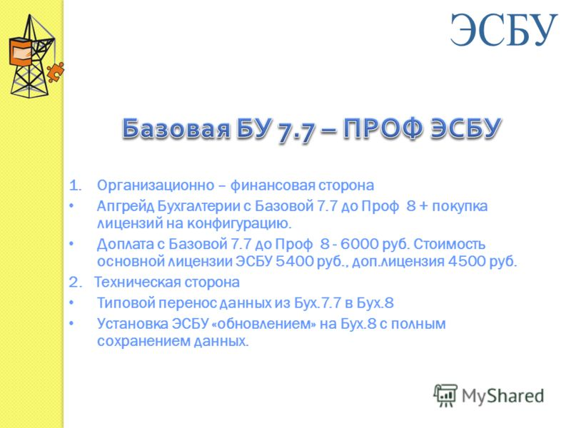 1.Организационно – финансовая сторона Апгрейд Бухгалтерии с Базовой 7.7 до Проф 8 + покупка лицензий на конфигурацию. Доплата с Базовой 7.7 до Проф 8 - 6000 руб. Стоимость основной лицензии ЭСБУ 5400 руб., доп.лицензия 4500 руб. 2. Техническая сторон