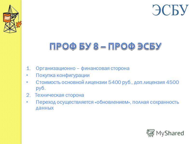 1.Организационно – финансовая сторона Покупка конфигурации Стоимость основной лицензии 5400 руб., доп.лицензия 4500 руб. 2. Техническая сторона Переход осуществляется «обновлением», полная сохранность данных