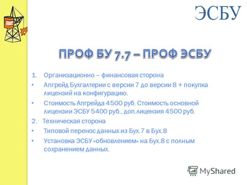 1.Организационно – финансовая сторона Апгрейд Бухгалтерии с версии 7 до версии 8 + покупка лицензий на конфигурацию. Стоимость Апгрейда 4500 руб. Стоимость основной лицензии ЭСБУ 5400 руб., доп.лицензия 4500 руб. 2. Техническая сторона Типовой перено