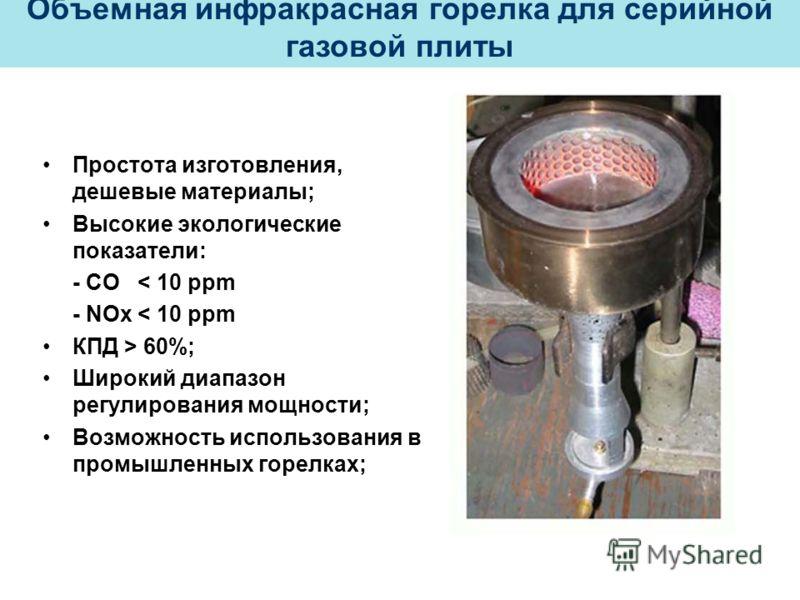 Простота изготовления, дешевые материалы; Высокие экологические показатели: - СО < 10 ppm - NOx < 10 ppm КПД > 60%; Широкий диапазон регулирования мощности; Возможность использования в промышленных горелках; Объемная инфракрасная горелка для серийной