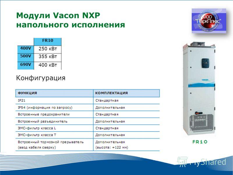 19 2010 г. г. Москва Модули Vacon NXP напольного исполнения FR10 400V 250 кВт 500V 355 кВт 690V 400 кВт Конфигурация