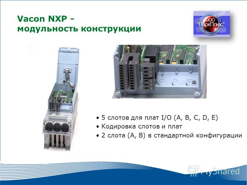 9 2010 г. г. Москва Vacon NXР - модульность конструкции 5 слотов для плат I/O (A, B, C, D, E) Кодировка слотов и плат 2 слота (А, В) в стандартной конфигурации
