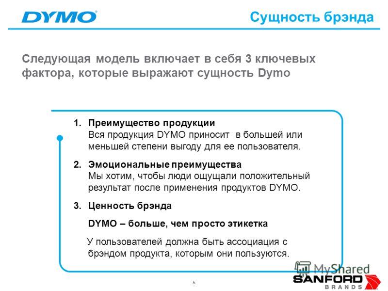55 Следующая модель включает в себя 3 ключевых фактора, которые выражают сущность Dymo Сущность брэнда 1.Преимущество продукции Вся продукция DYMO приносит в большей или меньшей степени выгоду для ее пользователя. 2.Эмоциональные преимущества Мы хоти