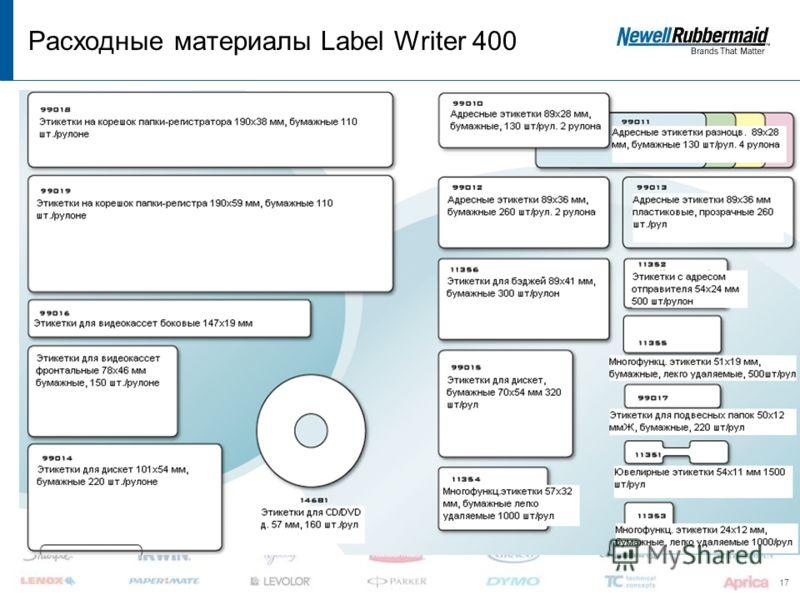 17 Расходные материалы Label Writer 400 -