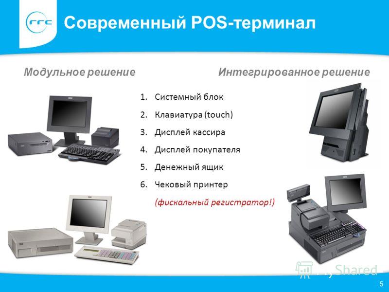 Современный POS-терминал Модульное решение Интегрированное решение 5 1.Системный блок 2.Клавиатура (touch) 3.Дисплей кассира 4.Дисплей покупателя 5.Денежный ящик 6.Чековый принтер (фискальный регистратор!)