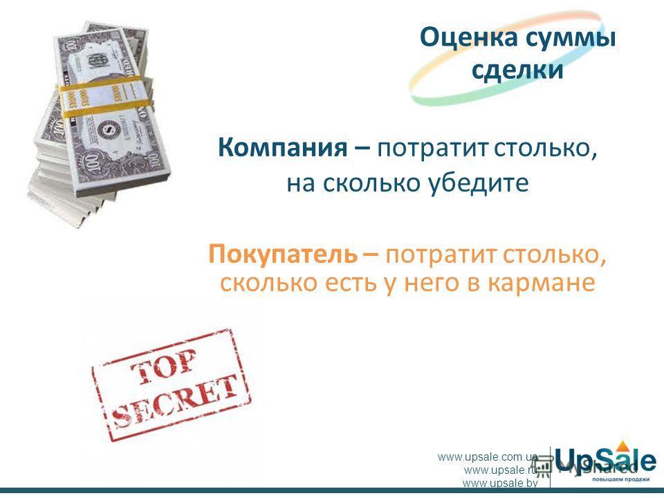 Компания – потратит столько, на сколько убедите Покупатель – потратит столько, сколько есть у него в кармане Оценка суммы сделки www.upsale.com.ua www.upsale.ru www.upsale.by