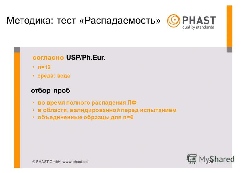 Методика: тест «Распадаемость» согласно USP/Ph.Eur. n=12 среда: вода отбор проб во время полного распадения ЛФ в области, валидированной перед испытанием объединенные образцы для n=6 © PHAST GmbH, www.phast.de 20