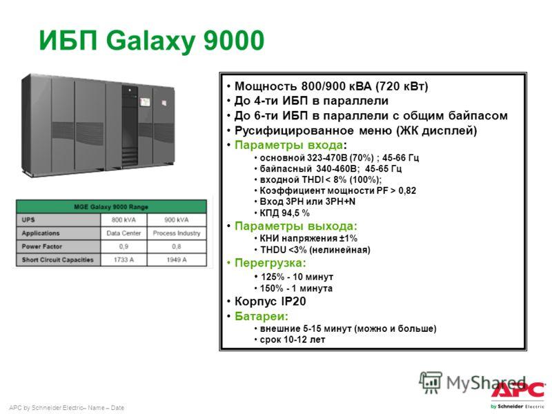 APC by Schneider Electric– Name – Date ИБП Galaxy 9000 Мощность 800/900 кВА (720 кВт) До 4-ти ИБП в параллели До 6-ти ИБП в параллели с общим байпасом Русифицированное меню (ЖК дисплей) Параметры входа: основной 323-470В (70%) ; 45-66 Гц байпасный 34
