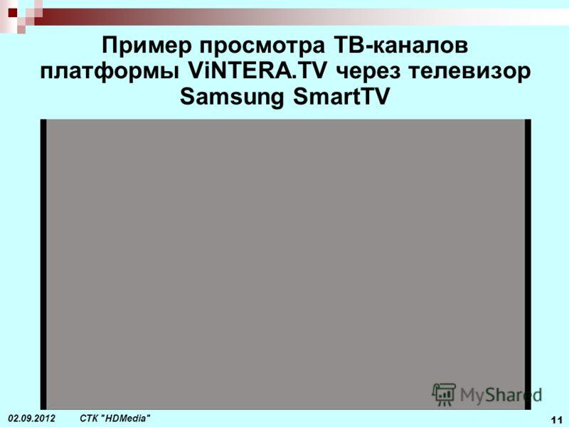 СТК HDMedia 11 02.09.2012 Пример просмотра ТВ-каналов платформы ViNTERA.TV через телевизор Samsung SmartTV