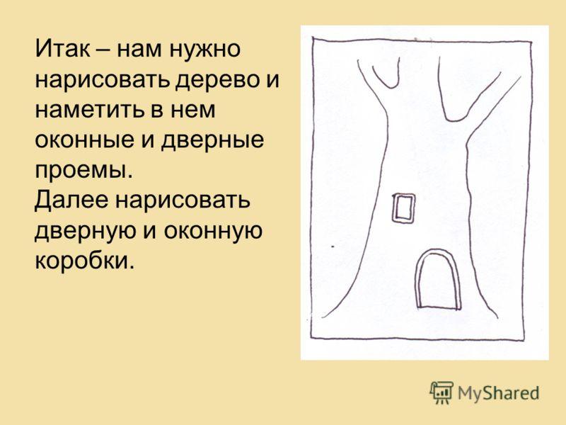 Итак – нам нужно нарисовать дерево и наметить в нем оконные и дверные проемы. Далее нарисовать дверную и оконную коробки.