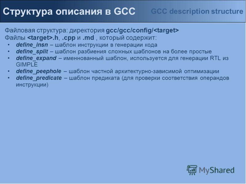 Файловая структура: директория gcc/gcc/config/ Файлы.h,.cpp и.md, который содержит: define_insn – шаблон инструкции в генерации кода define_split – шаблон разбиения сложных шаблонов на более простые define_expand – именнованный шаблон, используется д
