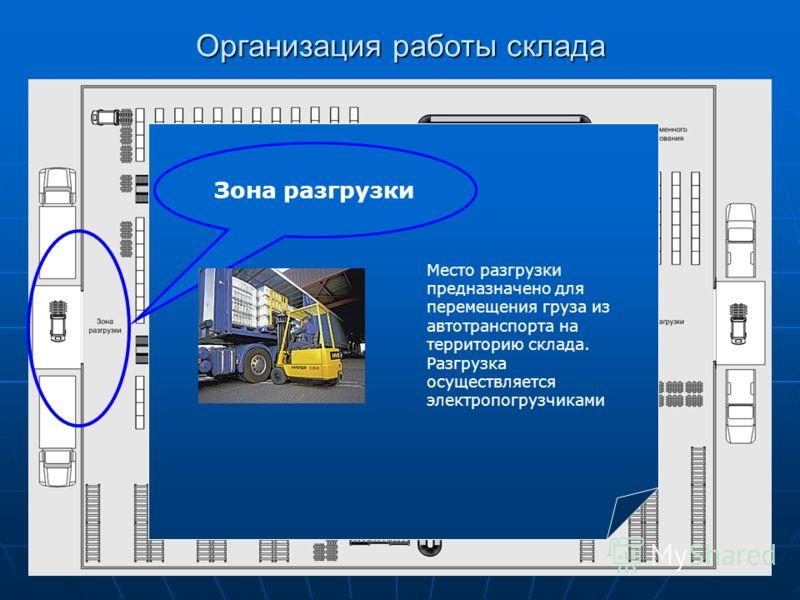Организация работы склада Зона разгрузки Место разгрузки предназначено для перемещения груза из автотранспорта на территорию склада. Разгрузка осуществляется электропогрузчиками