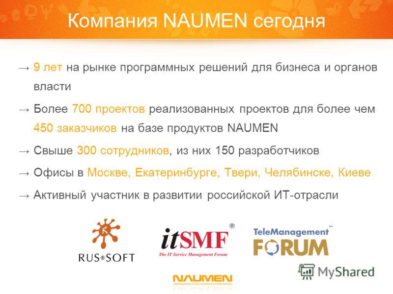 Компания NAUMEN сегодня 9 лет на рынке программных решений для бизнеса и органов власти Более 700 проектов реализованных проектов для более чем 450 заказчиков на базе продуктов NAUMEN Свыше 300 сотрудников, из них 150 разработчиков Офисы в Москве, Ек