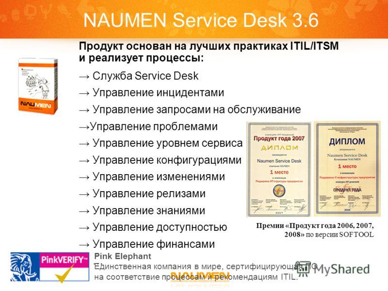 NAUMEN Service Desk 3.6 Продукт основан на лучших практиках ITIL/ITSM и реализует процессы: Служба Service Desk Управление инцидентами Управление запросами на обслуживание Управление проблемами Управление уровнем сервиса Управление конфигурациями Упр