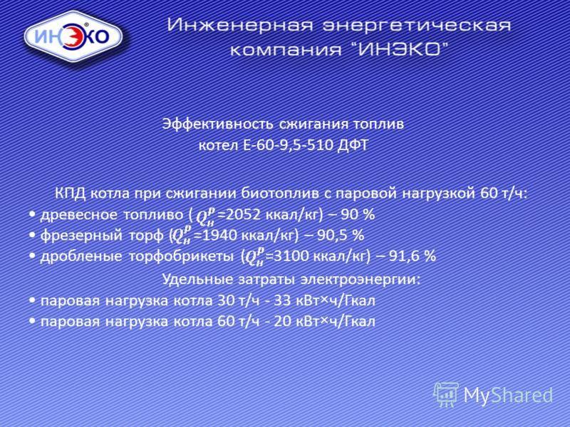 Эффективность сжигания топлив котел Е-60-9,5-510 ДФТ КПД котла при сжигании биотоплив с паровой нагрузкой 60 т/ч: древесное топливо ( =2052 ккал/кг) – 90 % фрезерный торф ( =1940 ккал/кг) – 90,5 % дробленые торфобрикеты ( =3100 ккал/кг) – 91,6 % Удел