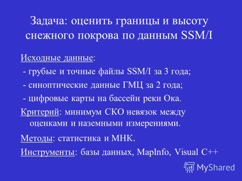 Исходные данные: - грубые и точные файлы SSM/I за 3 года; - синоптические данные ГМЦ за 2 года; - цифровые карты на бассейн реки Ока. Критерий: минимум СКО невязок между оценками и наземными измерениями. Методы: статистика и МНК. Инструменты: базы да