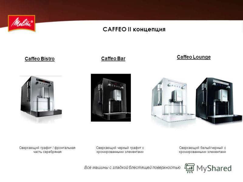 CAFFEO II концепция Сверкающий белый/черный с хромированными элементами Сверкающий графит / фронтальная часть серебряная Сверкающий черный графит с хромированными элементами Caffeo Lounge Caffeo Bar Все машины с гладкой блестящей поверхностью Caffeo