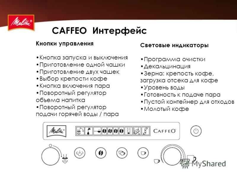 CAFFEO Интерфейс Кнопки управления Кнопка запуска и выключения Приготовление одной чашки Приготовление двух чашек Выбор крепости кофе Кнопка включения пара Поворотный регулятор объема напитка Поворотный регулятор подачи горячей воды / пара Световые и
