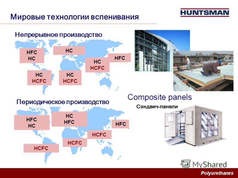Polyurethanes Мировые технологии вспенивания HC HFC HC HFC HC HCFC HC HCFC HC HFC HC HFC HCFC HC HCFC Периодическое производство Непрерывное производство Сэндвич-панели