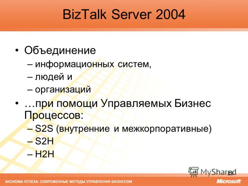 28 BizTalk Server 2004 Объединение –информационных систем, –людей и –организаций …при помощи Управляемых Бизнес Процессов: –S2S (внутренние и межкорпоративные) –S2H –H2H