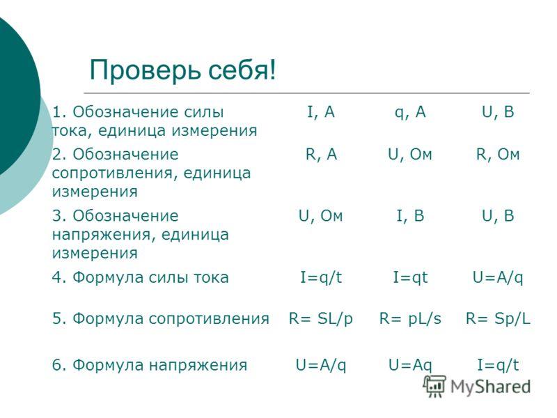 Проверь себя! 1. Обозначение силы тока, единица измерения I, Aq, AU, В 2. Обозначение сопротивления, единица измерения R, AU, ОмR, Ом 3. Обозначение напряжения, единица измерения U, ОмI, ВU, В 4. Формула силы токаI=q/tI=qtU=A/q 5. Формула сопротивлен