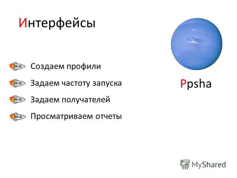 Создаем профили Задаем частоту запуска Задаем получателей Просматриваем отчеты Ppsha Интерфейсы