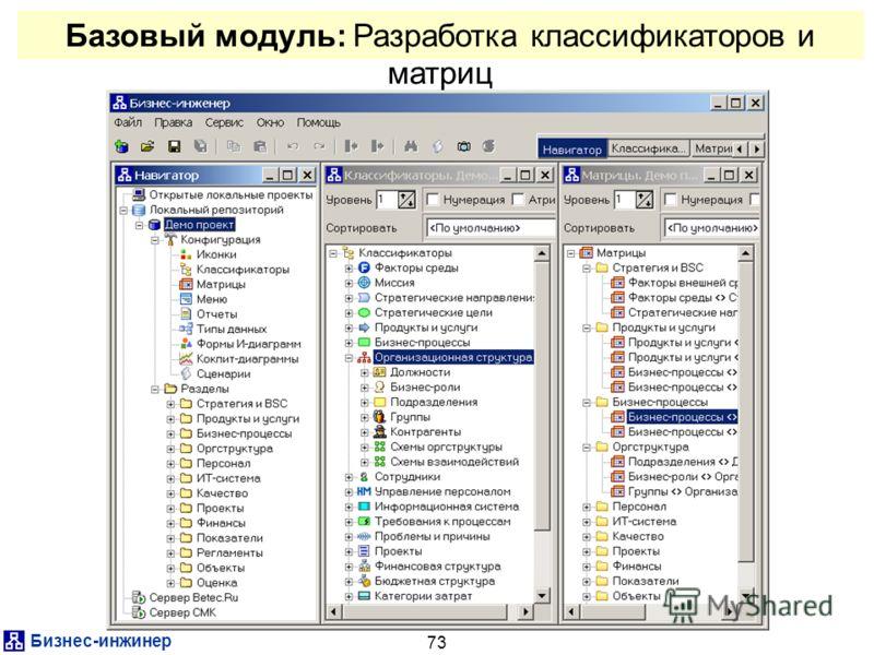 Бизнес-инжинер 73 Базовый модуль: Разработка классификаторов и матриц
