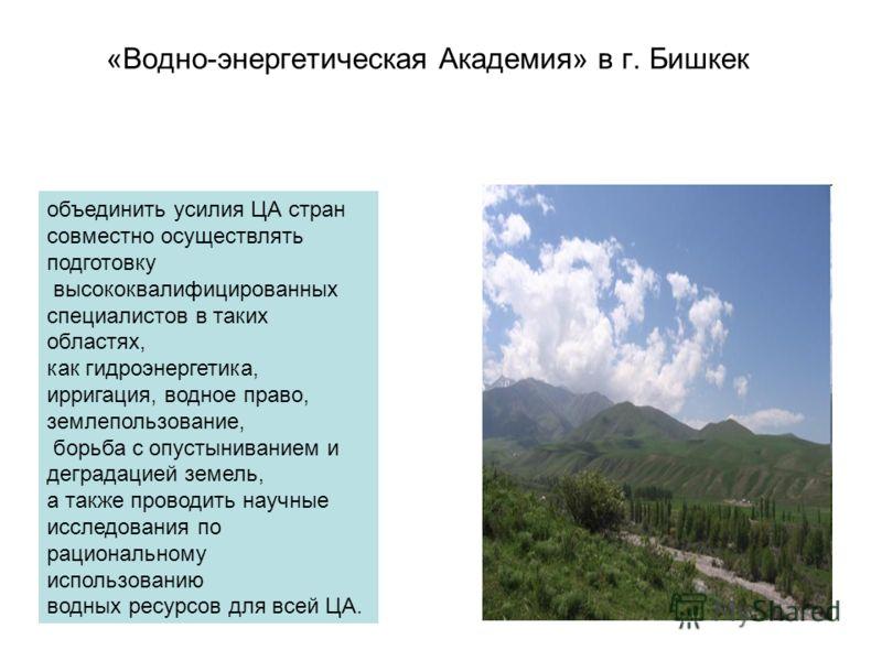 «Водно-энергетическая Академия» в г. Бишкек объединить усилия ЦА стран совместно осуществлять подготовку высококвалифицированных специалистов в таких областях, как гидроэнергетика, ирригация, водное право, землепользование, борьба с опустыниванием и