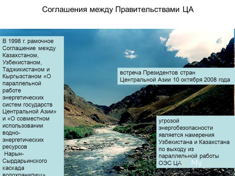 Соглашения между Правительствами ЦА В 1998 г. рамочное Соглашение между Казахстаном, Узбекистаном, Таджикистаном и Кыргызстаном «О параллельной работе энергетических систем государств Центральной Азии» и «О совместном использовании водно- энергетичес