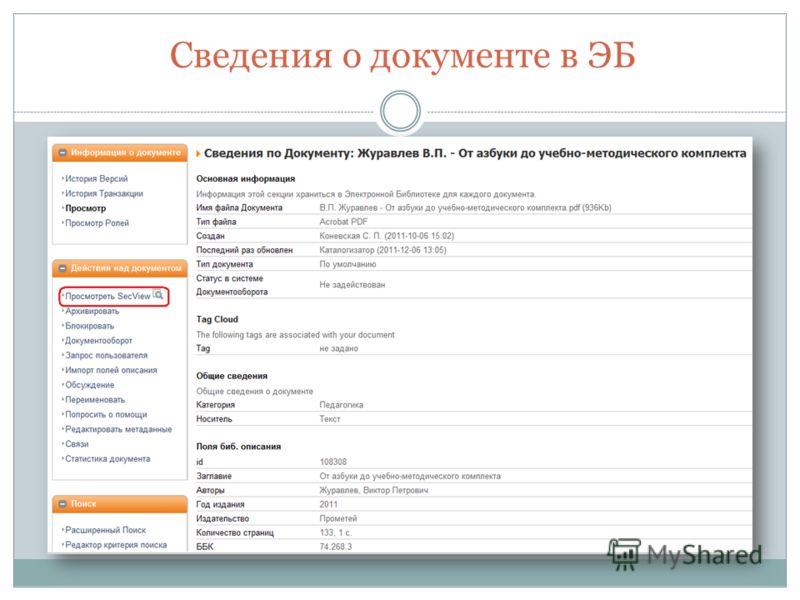 Сведения о документе в ЭБ