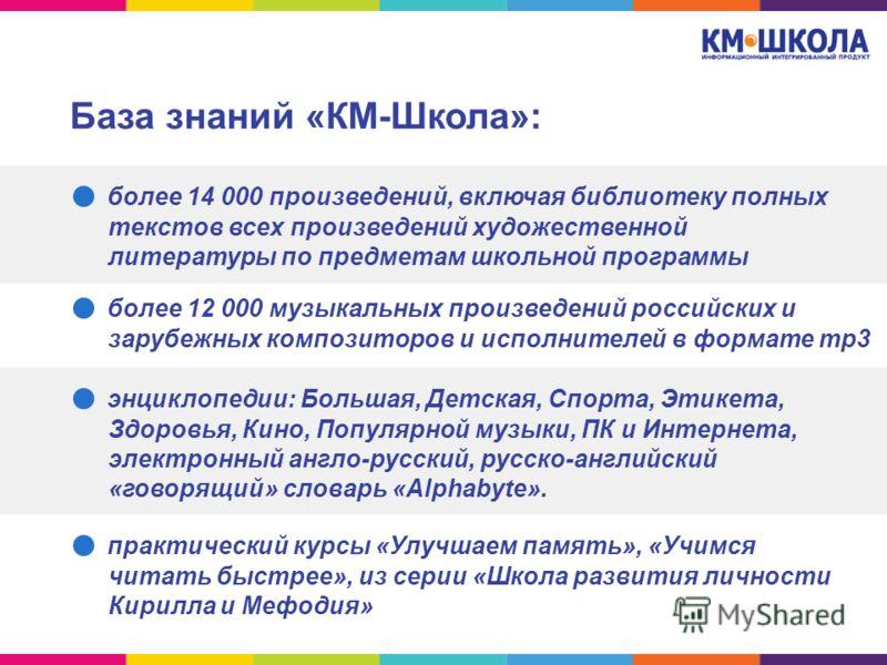 База знаний «КМ-Школа»: более 14 000 произведений, включая библиотеку полных текстов всех произведений художественной литературы по предметам школьной программы более 12 000 музыкальных произведений российских и зарубежных композиторов и исполнителей