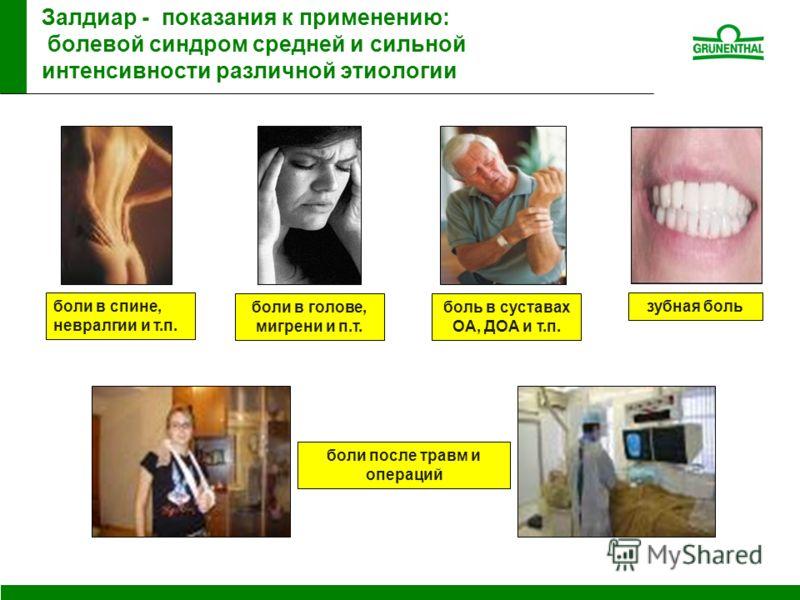 Залдиар - показания к применению: болевой синдром средней и сильной интенсивности различной этиологии боль в суставах ОА, ДОА и т.п. боли в голове, мигрени и п.т. боли в спине, невралгии и т.п. зубная боль боли после травм и операций