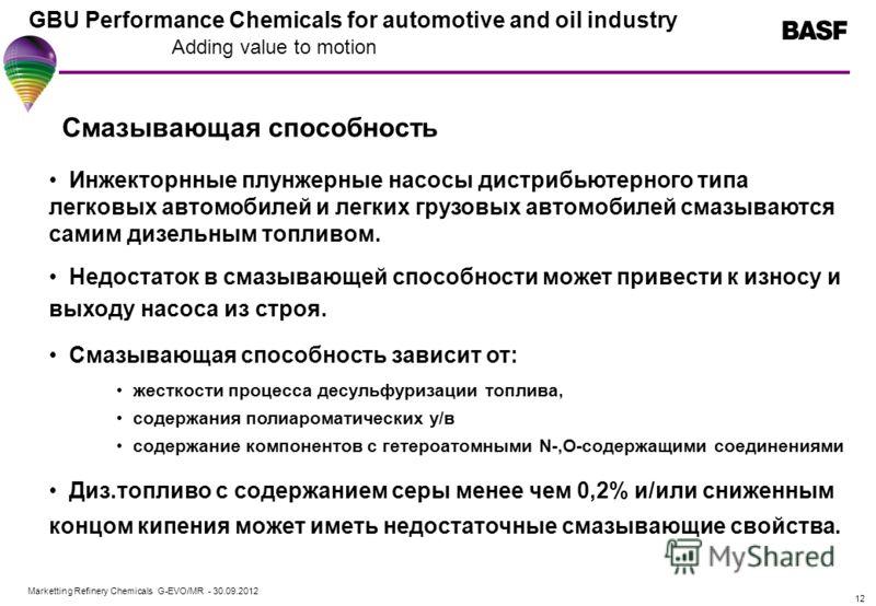 Marketting Refinery Chemicals G-EVO/MR - 01.08.2012 GBU Performance Chemicals for automotive and oil industry Adding value to motion 12 Смазывающая способность Инжекторнные плунжерные насосы дистрибьютерного типа легковых автомобилей и легких грузовы