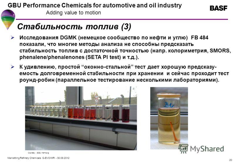 Marketting Refinery Chemicals G-EVO/MR - 01.08.2012 GBU Performance Chemicals for automotive and oil industry Adding value to motion 20 Стабильность топлив (3) Исследования DGMK (немецкое сообщество по нефти и углю) FB 484 показали, что многие методы