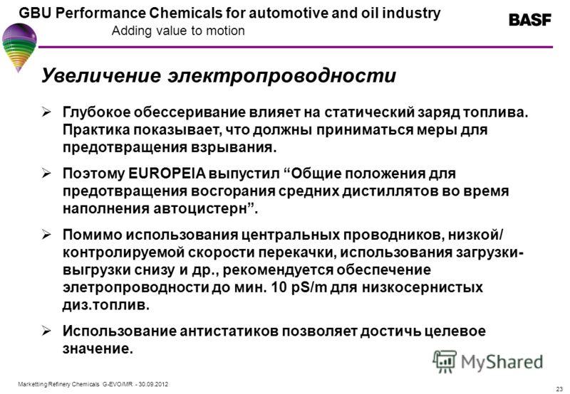 Marketting Refinery Chemicals G-EVO/MR - 01.08.2012 GBU Performance Chemicals for automotive and oil industry Adding value to motion 23 Увеличение электропроводности Глубокое обессеривание влияет на статический заряд топлива. Практика показывает, что