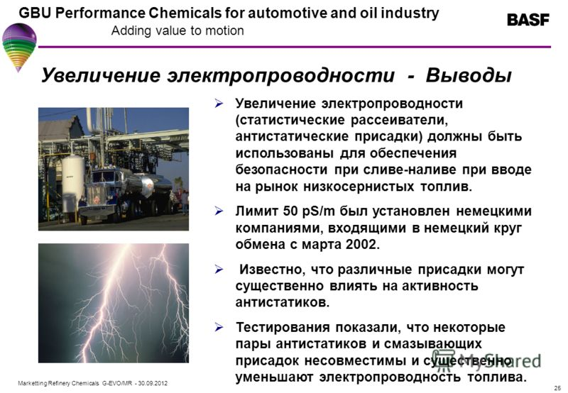 Marketting Refinery Chemicals G-EVO/MR - 01.08.2012 GBU Performance Chemicals for automotive and oil industry Adding value to motion 25 Увеличение электропроводности - Выводы Увеличение электропроводности (статистические рассеиватели, антистатические