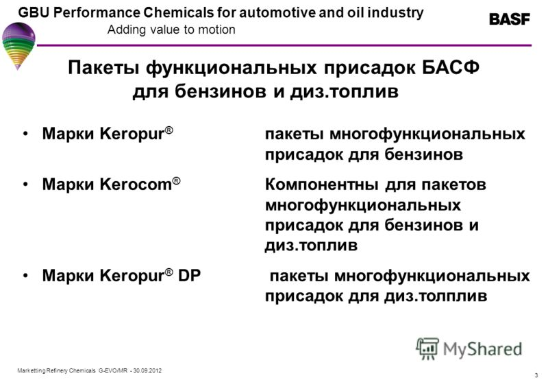Marketting Refinery Chemicals G-EVO/MR - 01.08.2012 GBU Performance Chemicals for automotive and oil industry Adding value to motion 3 Пакеты функциональных присадок БАСФ для бензинов и диз.топлив Марки Keropur ® пакеты многофункциональных присадок д