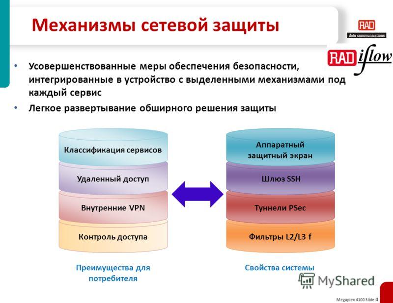 Megaplex 4100 Slide 4 Механизмы сетевой защиты Фильтры L2/L3 fКонтроль доступа Внутренние VPN Удаленный доступ Классификация сервисов Туннели PSec Шлюз SSH Аппаратный защитный экран Свойства системыПреимущества для потребителя Усовершенствованные мер