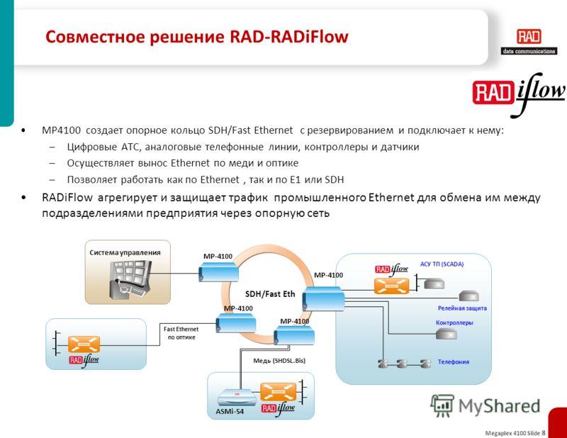 Megaplex 4100 Slide 8 Совместное решение RAD-RADiFlow MP4100 создает опорное кольцо SDH/Fast Ethernet с резервированием и подключает к нему: –Цифровые АТС, аналоговые телефонные линии, контроллеры и датчики –Осуществляет вынос Ethernet по меди и опти
