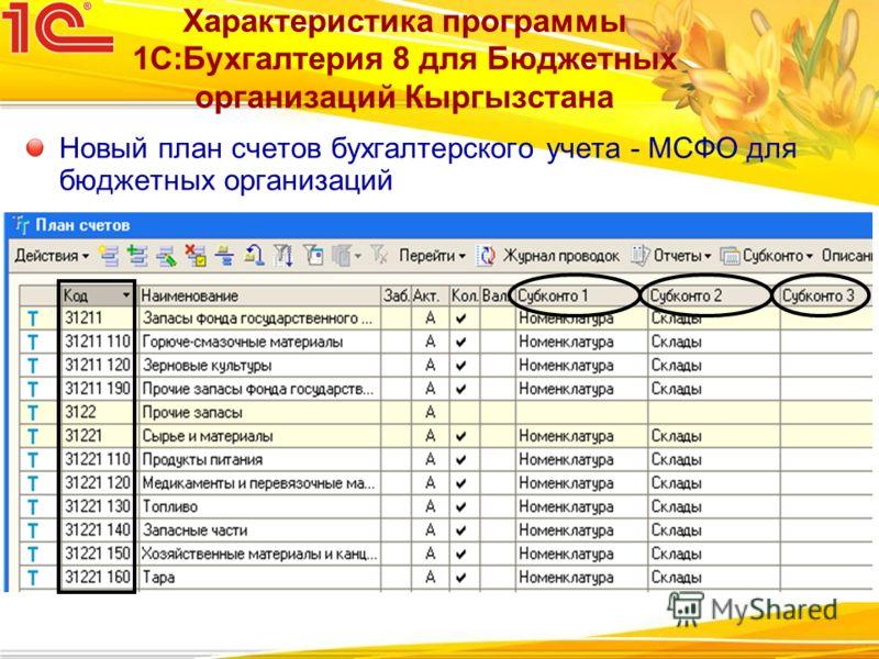 Характеристика программы 1С:Бухгалтерия 8 для Бюджетных организаций Кыргызстана Новый план счетов бухгалтерского учета - МСФО для бюджетных организаций