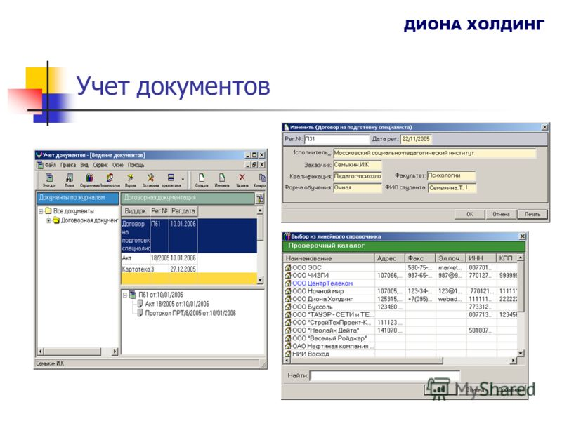 Учет документов ДИОНА ХОЛДИНГ