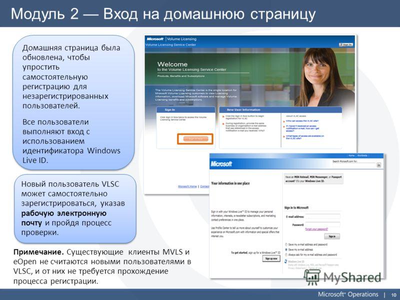 10 Модуль 2 Вход на домашнюю страницу Домашняя страница была обновлена, чтобы упростить самостоятельную регистрацию для незарегистрированных пользователей. Все пользователи выполняют вход с использованием идентификатора Windows Live ID. Домашняя стра
